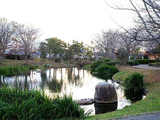 ひょうたん型の池が広がる、とてものどかな公園です。